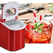 Auto Ice Cube Maker Fast Easy Bench Top Portable Freezer Machine Red Hzb 12a