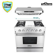 36 Thor Kitchen Gas Range With Griddle Stove Cooktop Burners Under Cabinet Hood