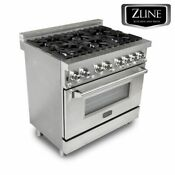 Zline 36 Stainless Dual Fuel 4 6 Cu Ft 6 Gas Burner Electric Oven Range Ra36