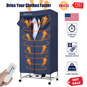 1000w Electric Rolling Clothes Dryer Timer Heater Wardrobe Garments Laundry Dry