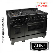 New Zline 48 Black Stainless 7 Gas Burner Electric Oven Range Rab 48