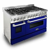Zline 48 Dual Fuel Range Oven Gas Electric Gloss Blue Door Ra Bg 48