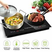 Trighteach Portable Induction Cooktop Double Countertop Burner 2200w Electric
