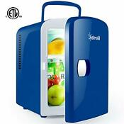 Astroai Mini Fridge 4 Liter 6 Can Portable Ac Dc Powered Thermoelectric Blue