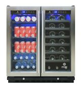 Vinotemp 2 Zone Wine And Beverage Cooler 33 Bottles 101 Cans Stainless