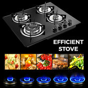 Lpg Ng Gas Cooktop 23 3 4 Burners Built In Stove Tempered Glass Surface Cooker