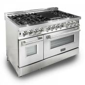 Zline Stainless Steel 6 Cu Ft 7 Gas Burner Electric Oven Stainless Steel 48 In