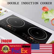 2 4kw Electric Dual Induction Cooker Cooktop 2400w Countertop Double Burner Usa