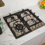 24 Stainless Steel Built In Gas Cooktop 4 Brass Burner Durable Kitchen Dining