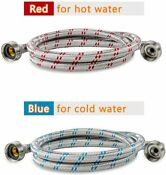 Premium Stainless Steel Washing Machine Hoses W 90 Degree Elbow Color Coded