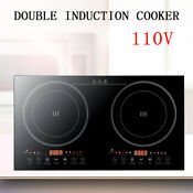 Portable Induction Cooktop Countertop Dual Cooker Burner Stove Plate Non Slip