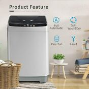 Full Automatic Washing Machine 13lbs Portable Compact 2 In 1 Laundry Washer