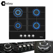 24 Gas Cooktop Stove 4 Burners Drop In Top Tempered Glass Lpg Ng Dual Fuel Us