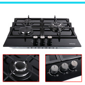 24 Gas Cooktop Stove Top 3 Burners Tempered Glass Built In Lpg Ng Gas Cooktops