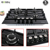 24 Gas Cooktop Stove 4 Burners Top Tempered Glass Built In Lpg Ng Gas Cooktops