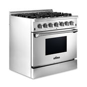 36 Stainless Steel Dual Fuel Range Ng Lpg Top Burner Electric Bottom Oven New