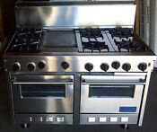 Viking Pro Stainless Steel 48 Double Oven 6 Stove Top Burners