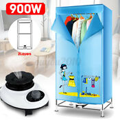 900w 2layers Portable Electric Clothes Dryer Heater Wardrobe Air Drying 220v