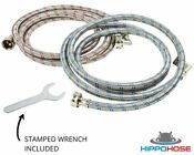 Washing Machine Hose Stainless Steel Braided 90 Degree Elbow Hippohose W Wrench