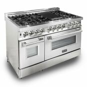 Zline Ra48 48 6 0 Cu Ft 7 Gas Burner Electric Oven Range Stainless Tn 422