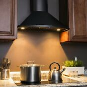 Akdy 30 In Convertible Kitchen Wall Mount Range Hood In Black Stainless Steel