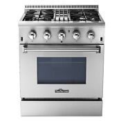 Kitchen 30 4 Burner Gas Range Electric Oven Dual Fuel Stainless Steel M4n1