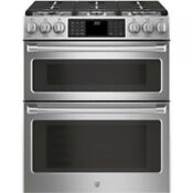 Ge Cafe 30 Stainless Steel Slide In Double Oven Dual Fuel Range