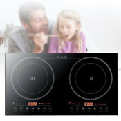 2200w Electric Dual Induction Cooker Countertop Double Burner Cooktop Touch Pane