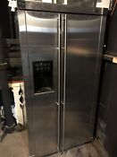 Ge Monogram Stainless Steel Side By Side Refrigerator Standard Depth