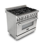 Zline 36 In Professional Gas Range Electric Oven Range In Stainless Steel Ra36