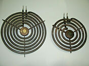 Two Hotpoint Ge Electric Range Calrod Surface Burner Coils Large Small Element