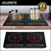 2 Burners Cooking Stove Electric Cooktop Burner Infrared Hot Plate Countertop