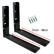 2 Universal Black Microwave Wall Mounting Holder Brackets With Extendable Arms