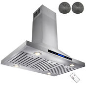 36 Stainless Steel Island Ductless Range Hood W Dual Touch Control