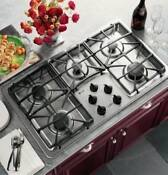 Ge Profile 36 Stainless 5 Sealed Burners Gas Cooktop Jgp963sekss