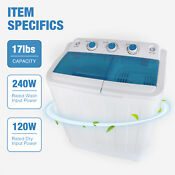 17ibs Portable Washing Machine Compact Twin Tub Washer Spin Dryer Dorm