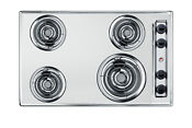 Summit Zel05 30 Wide 4 Burner Electric Cooktop Chrome