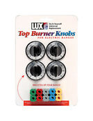 Lux Replacement Top Burner Knobs Universal Electric Ranges Black Card Of 4
