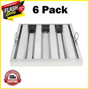 Exhaust Hood Vent Grease Filter Baffle 6 Pack Commercial Kitchen Stainless Steel