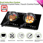 1800w Electric Dual Induction Cooker Countertop Double Burner Cooktop Touch Pane