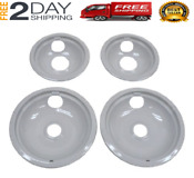 Whirlpool Stove Drip Pan Kit Grey Burner Bowls Top Electric Range Replacement