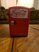 Mini Refrigerator Coca Cola Desktop Electric 6 Can Fridge Retro Cooler