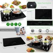Double Induction Cooktop Portable 120v Portable Digital Ceramic Dual Burner W