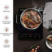 1800w Portable Induction Cooktop Electric Single Countertop Burner Lcd Touch New
