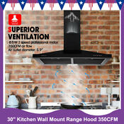 30 Inch Wall Mount Stainless Steel Kitchen Range Hood 350 Cfm Air Cook Fan New