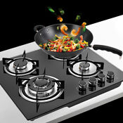 Pro Gas Stove Top Built In 4 Burner Gas Range Cooktop Tempered Glass Cooktops