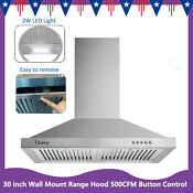 30 Wall Mount Range Hood Stainless Steel Top Vent Filter Button Control 500 Cfm