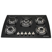 New 30 Black Glass Built In Kitchen 5 Burner Top Gas Hob Cooktops Fixed Cooker