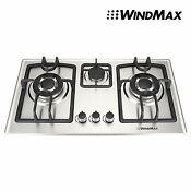 Fashion 28 Inch Stainless Steel 3 Burners Built In Stove Ng Gas Cooktop Cooker