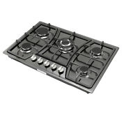 New30 Black Titanium Stainless Steel 5 Burner Built In Stove Lpg Ng Gas Cooktop
